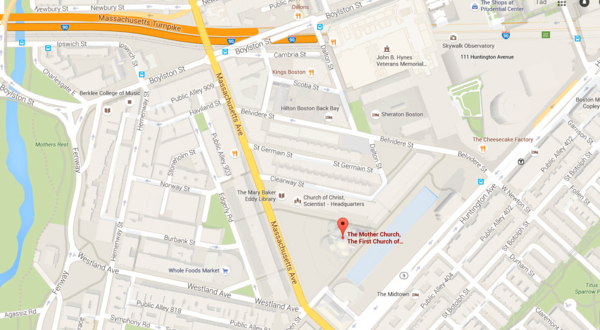 Location of The Mother Church on Google maps