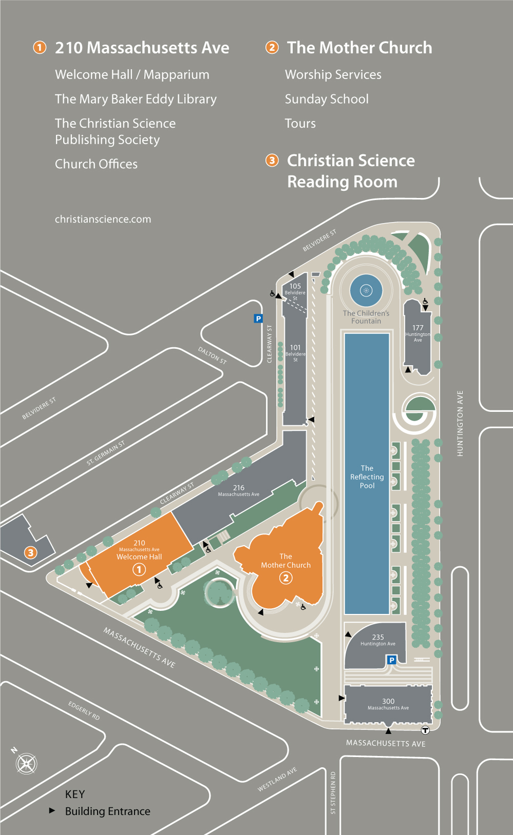 Christian Science Plaza map