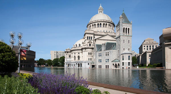 The Mother Church and the Christian Science Plaza's reflecting pool