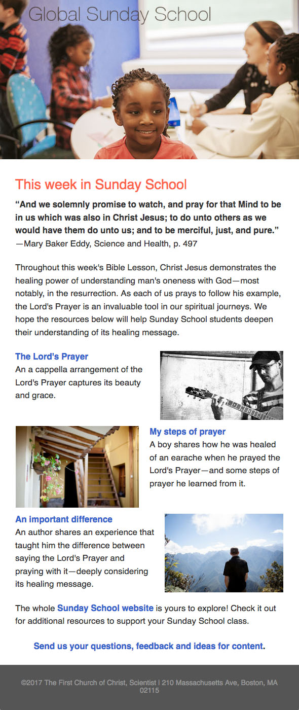 Sample of Global Sunday School newsletter