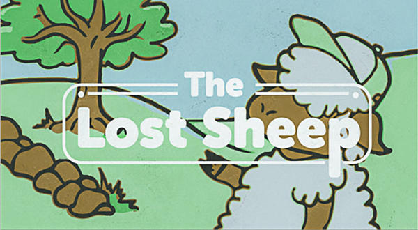 Cartoon illustration of lost sheep