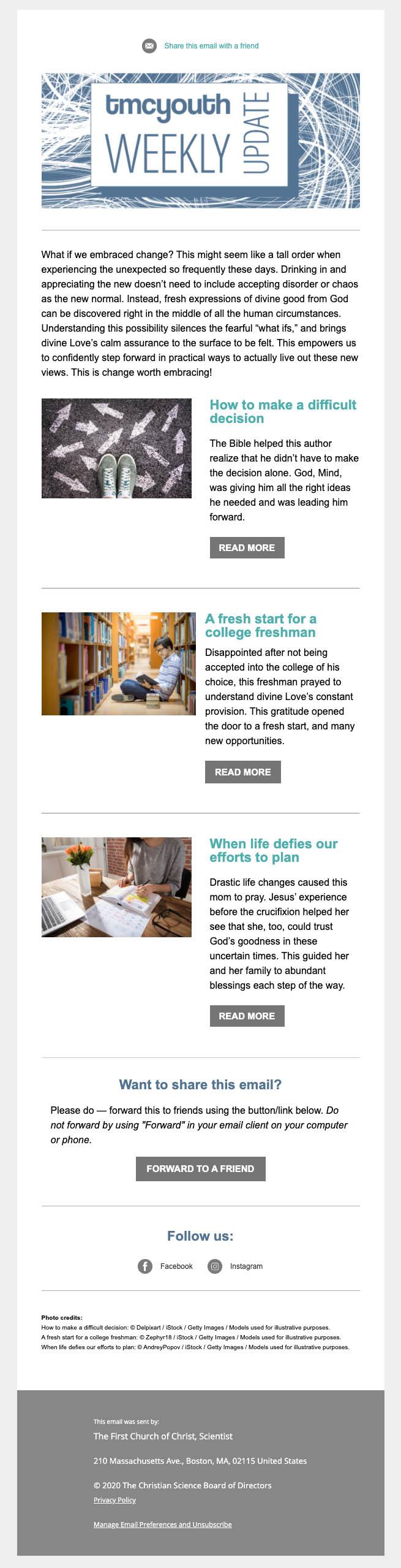 Sample of Weekly Update newsletter