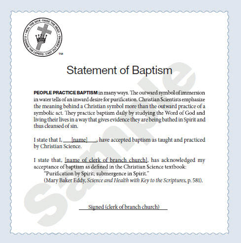Statement of Baptism sample