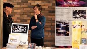 Beth Gibson talking with a Baha'i friend