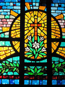 Stained glass of Christian cross