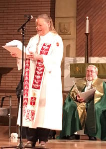 Bishops Mary Ann Swenson and Guy Erwin, worship leaders at ecumenical prayer service.